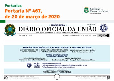 Portaria Nº 467, de 20 de março de 2020