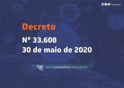 Decreto Nº 33.608 prorroga isolamento social no Ceará e institui a regionalização das medidas de isolamento social