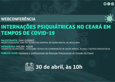 Webconferência aborda internações psiquiátricas no Ceará durante a pandemia do novo coronavírus