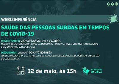 Webconferência discute saúde das pessoas surdas em tempos de Covid-19