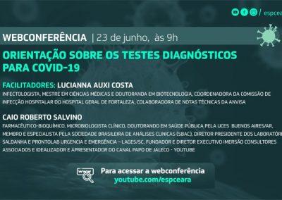 Orientações sobre os testes disgnósticos da Covid-19 são discutidas por meio de webconferência