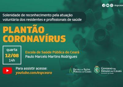 Solenidade homenageia atuação dos profissionais da ESP/CE no Plantão Coronavírus