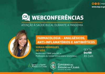 Webconferência sobre saúde bucal discute farmacologia