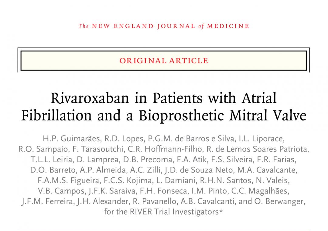 Rivaroxabana em pacientes com fibrilação atrial e uma válvula mitral bioprotética (em inglês)
