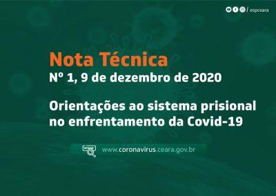 Nota técnica sobre orientações ao sistema prisional no enfrentamento da Covid-19