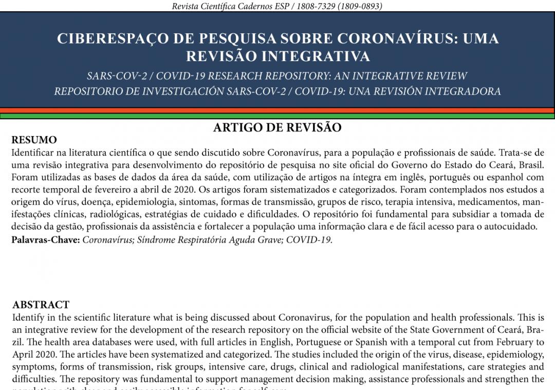 Ciberespaço de pesquisa sobre Coronavírus: uma revisão integrativa.