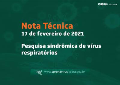 Nota técnica orienta sobre pesquisa sindrômica de vírus respiratórios em pacientes com síndrome respiratória aguda grave