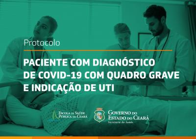 Protocolo traz informações sobre manejo de paciente com diagnóstico de Covid-19 com quadro grave e indicação de UTI